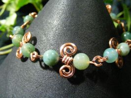 Moss Agate On Copper Spirals Bracelet by BacktoEarthCreations
