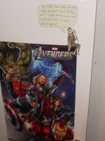 Full view of Loki sitting on my poster by JediSkygirl