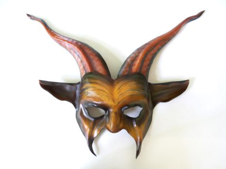 Leather Goat Mask brown and black with long horns by teonova