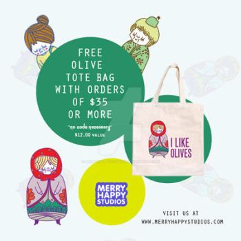 FREE Olives Tote Bag with $35 purchase by merryhappystudios