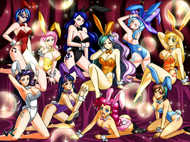 Commission: MLP Bunny Bikini Girls by jadenkaiba