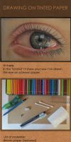 Drawing on tinted paper: Eye by acjub