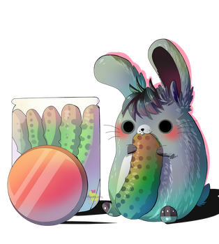 Nibbling the pickle [ chibi commission ] by Hiyoko-little-chick
