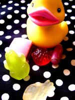 candies and my rubber duckie by Feuerschildkroete