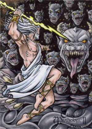 Zeus Vs. Typhon Sketch Card - Tony Perna