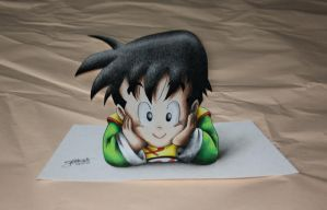 3D Art! Kid Gohan - Colored Drawing by InlineSpeedSkater