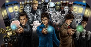 Doctor Who Triptych (Color) by WiL-Woods