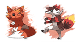 Fire Raccoons Pyrocoon and Sneacoon by Pokemon-Marchocias
