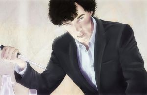Sherlock in his lab (color) by AzurLazuly