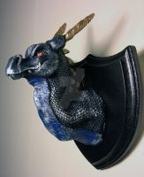 Dark Blue Silver and Gold Dragon Head Mountr by The-GoblinQueen