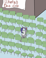 Rarity goes to a diamond dog con by Kl0ndike