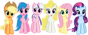 Mane 6 in G1 colors THIS IS JUST A RECOLOR!!! by Nutty-Nutzis