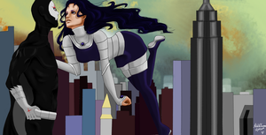 Blackfire and Red X by AidavsKonan