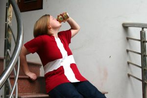 Drinking on the stairs by 2-5-9