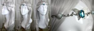 Icy Blue + Silver Butterfly Fairy Circlet by enchantedsea