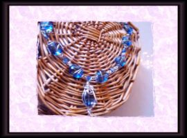 blue glass wire wrap necklace by Rini-Dragoone