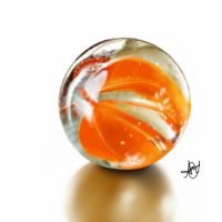 digital painting of a marble ball. by laziee2ann