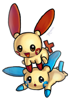 Plusle and Minun by KAttAKIN