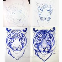 Ballpoint pen - Blue tiger construction by LauraMSS