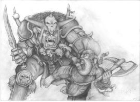 orc vs dwarf by redking74