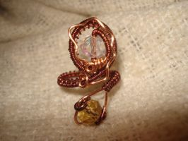 Copper Beaded Adjustable Snake Ring by Toowired
