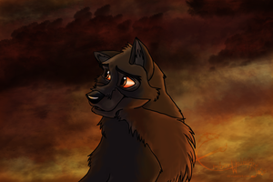 Balto- Sky on Fire by EmberWolfsArt