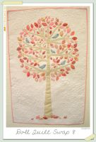 Pink Tree - a mini quilt by restlesswillow