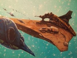 Tamulyaat:Khekh starfighters and mothership by chief2draws