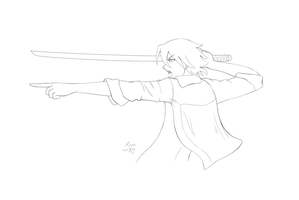 Lineart - Guy with a sword by sassie-kay