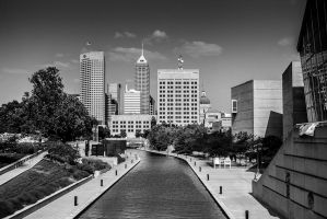 Downtown Indy Black and White by erebus56