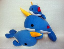 Golden Blue Narwhals by Jonisey