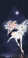 usagi and chibiusa tsukino - night flight by zelldinchit