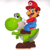 Mario and Yoshi by shimon-graffiti