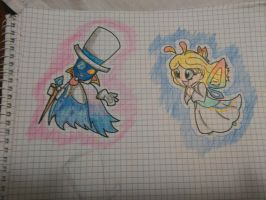 Blumiere and Timpani Chibi ( on paper) by DebbyGattaTheBest