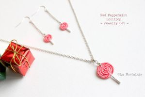 Christmas Gift Ideas Red Peppermint Jewelry Set by LaNostalgie05