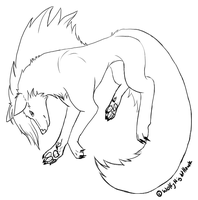 Bounce wolf lineart by NightRhynn