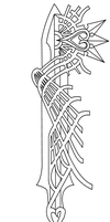 Ultima Weapon Keyblade Lineart by Reethax