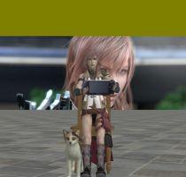 Lightning with psp and cat .. by LaraHaller