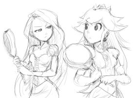 Princesses and Frying Pans :Sketch: by moxie2D