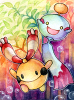 ACEO No. 89 - Chingling and Chimecho by Hachiyo