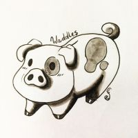 Inktober Day 08 - Waddles! by Creamy-Galaxies