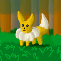 Eevee in the forest by BrumbyOfSteel