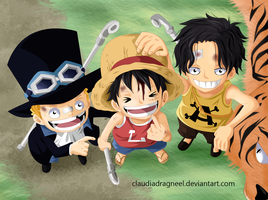 SABO LUFFY AND ACE by claudiadragneel
