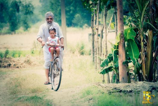 Punjabi Farmer with his Gradson by psc2012