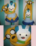 Jake the Dog Plushie with Finn Cosplay Pinafore by DarlingArmy