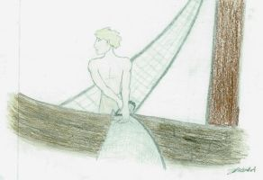Boy With Net on Boat by Irionuib
