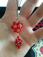 Chinese Lantern Themed Beaded Phone Strap by Heartage