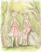 Eurydice and Melia by Ninelyn