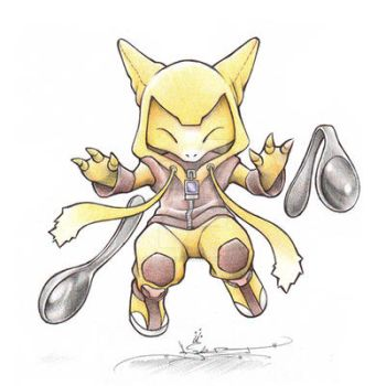 Abra in an Alakazam onsie by ItsBirdyArt