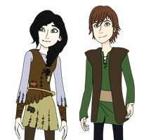 Hiccup and Heather by The-Silent-Angel